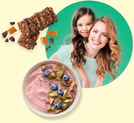Laura with daughter, sea salt nut bar and non-fat yogurt