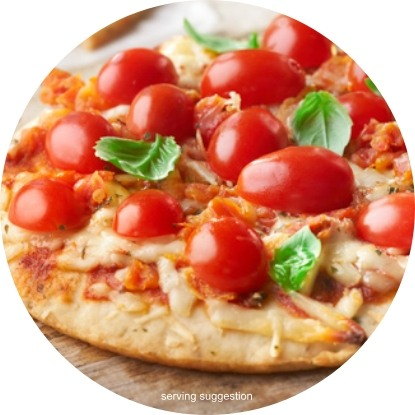 Pizza with cherry tomatoes and basil (serving suggestion)
