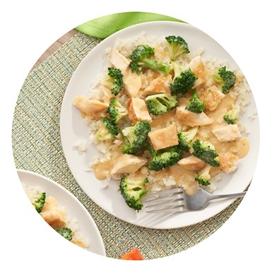 Plate of chicken, broccoli, and rice on a table