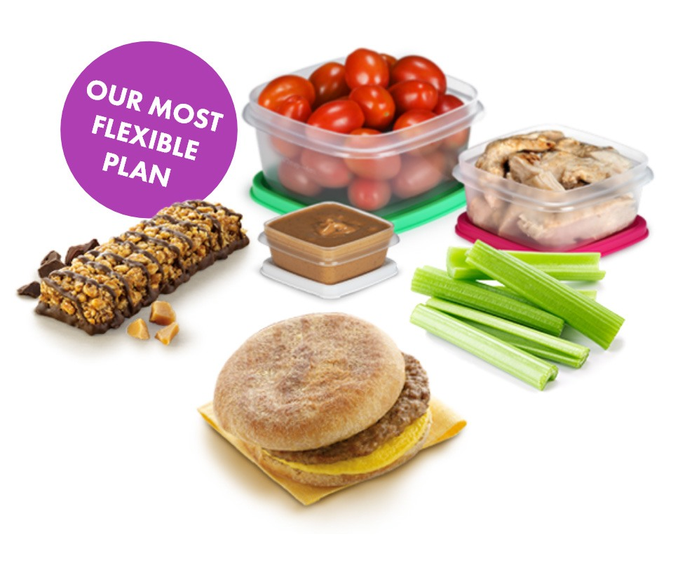 Our most flexible foods. Tomatoes, chocolate bar, peanut butter, celery sticks, breakfast sandwhich